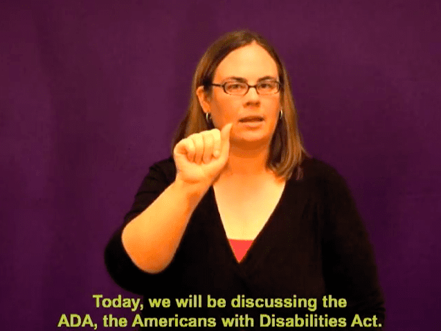"example of closed captions on a youtube video, saying ""Today, we will be discussing the ADA, the Americans with Disabilities Act"""