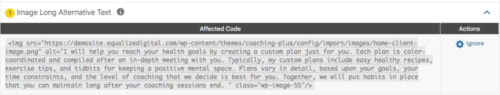 accessibility checker showing long alternative text warning details