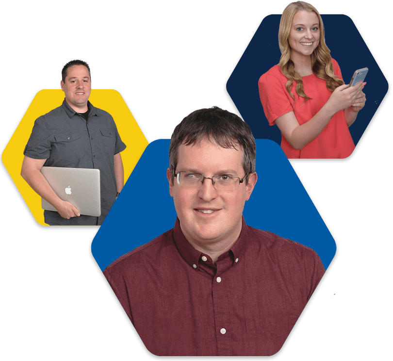 Steve holding a MacBook, Emma holding a smartphone, and Phil smiling in hexagons
