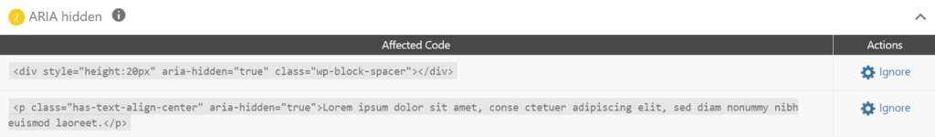 screenshot showing code containing aria-hidden = true flagged in Accessibility Checker in the WordPress edit screen