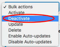 plug in bulk actions menu with deactivate highlighted