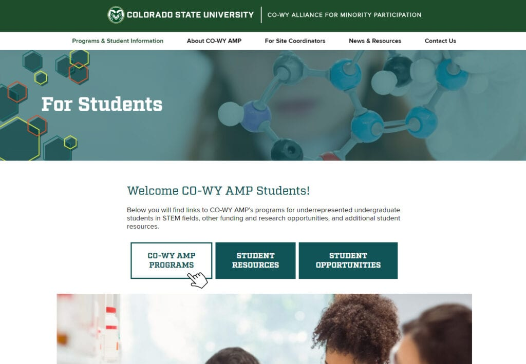 Colorado State University CO-WY Alliance For Minority Participation Students web page shows three links in the center of the page that are styled to look like buttons