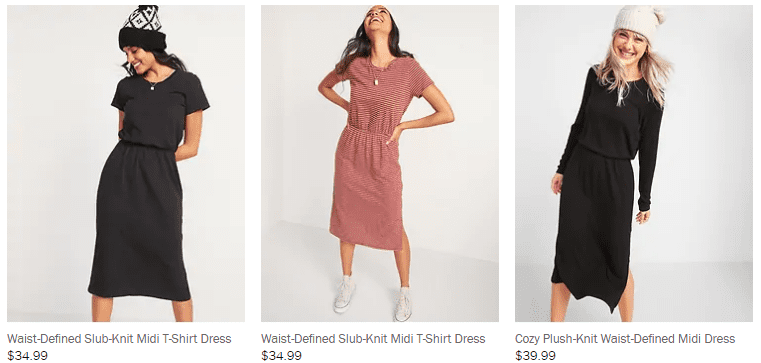 three different dresses with similiar names in an ecommerce store