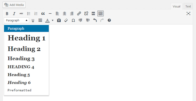 WordPress classic editor TinyMCE with paragraph and heading style select dropdown expanded