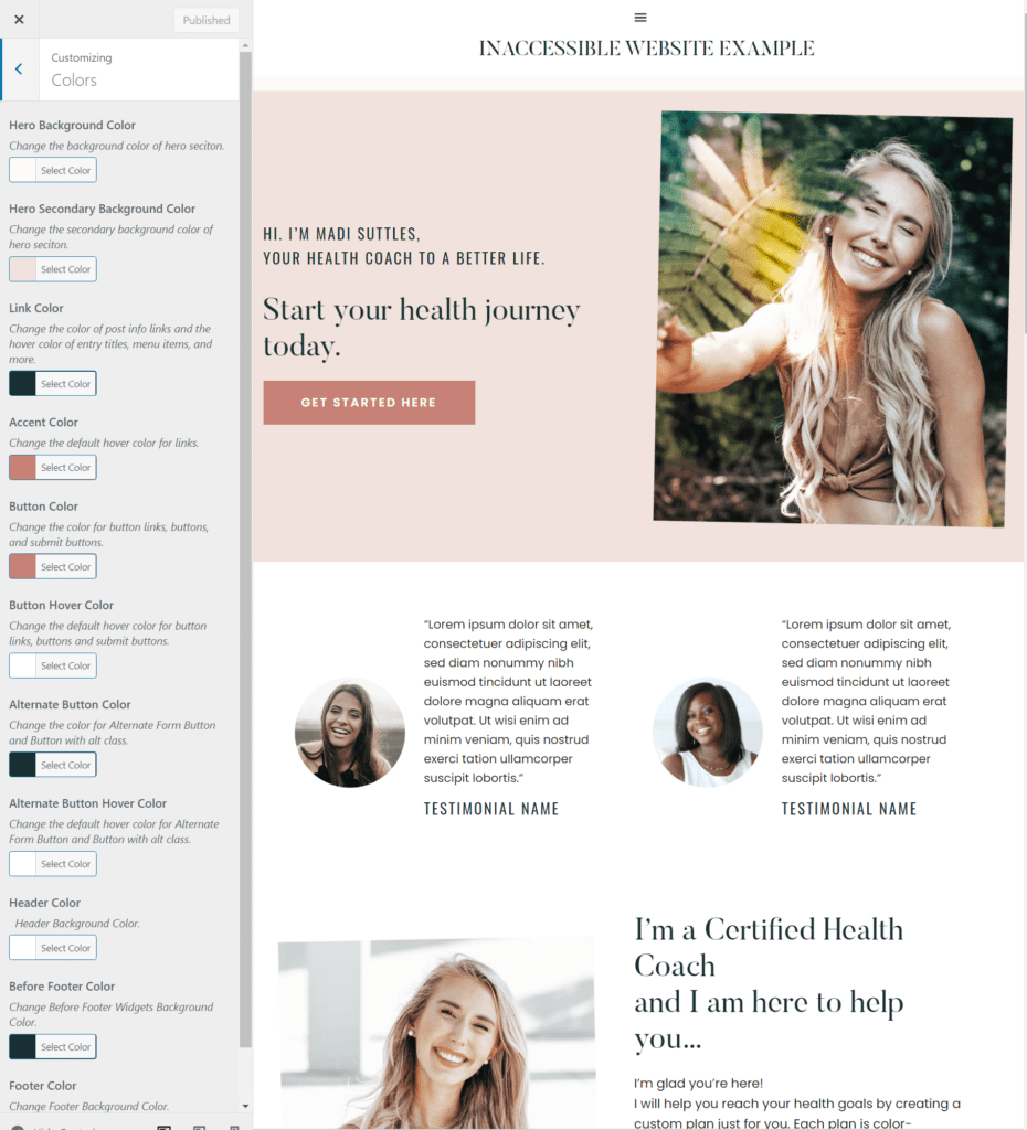 WordPress customizer open over website showing multiple color pickers