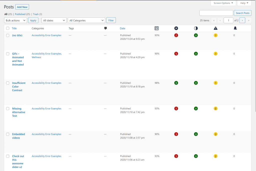 WordPress posts screen showing 5 accessibility checker columns