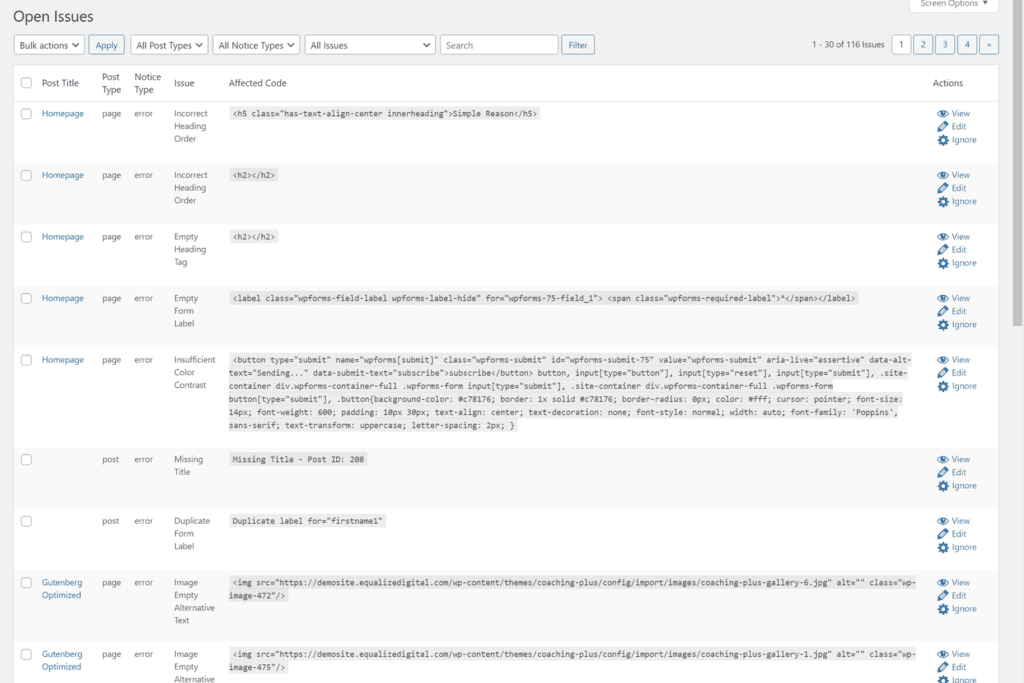 table showing all errors and warnding from every page throughout the site - can be searched/filtered