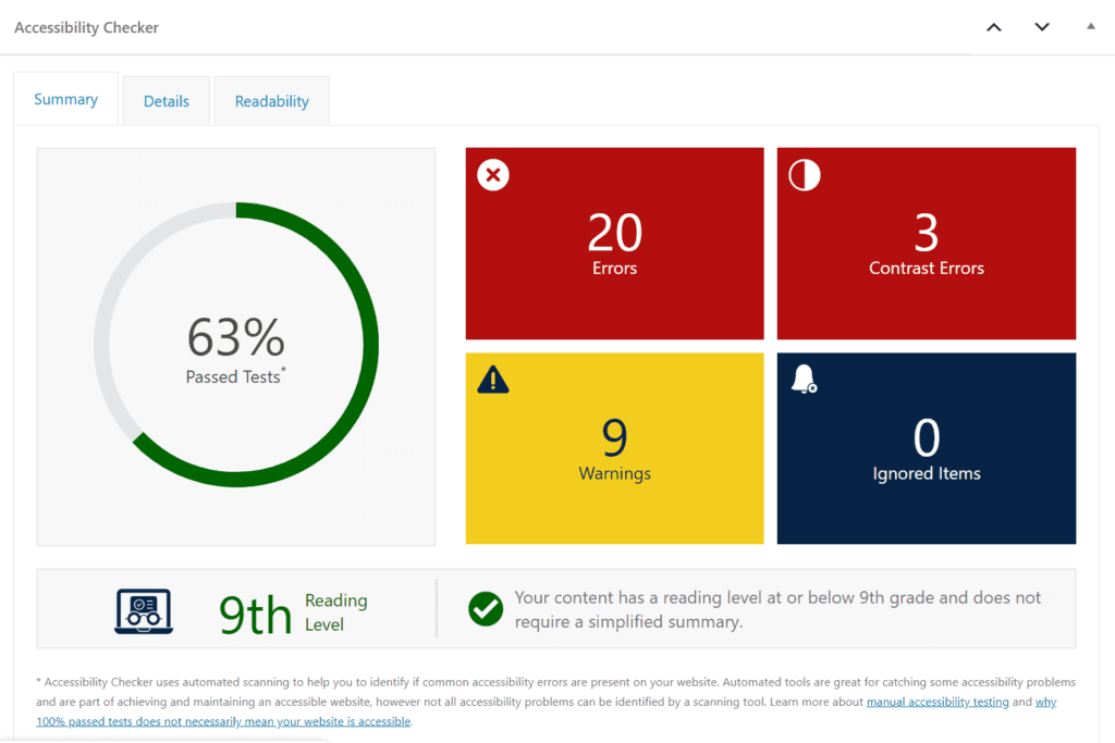 Accessibility Checker summary tab showing 20 errors, 3 contrast errors, and 9 warnings.