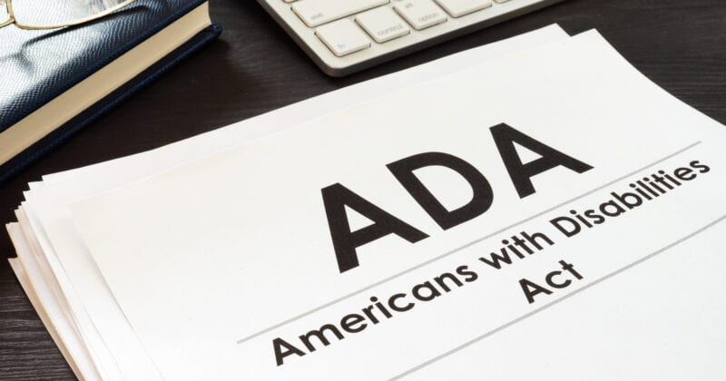 ADA americans with disabilities printed on piece of paper