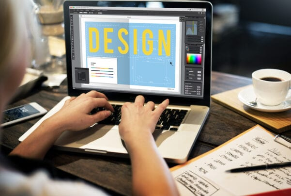 Person designing a website in Photoshop